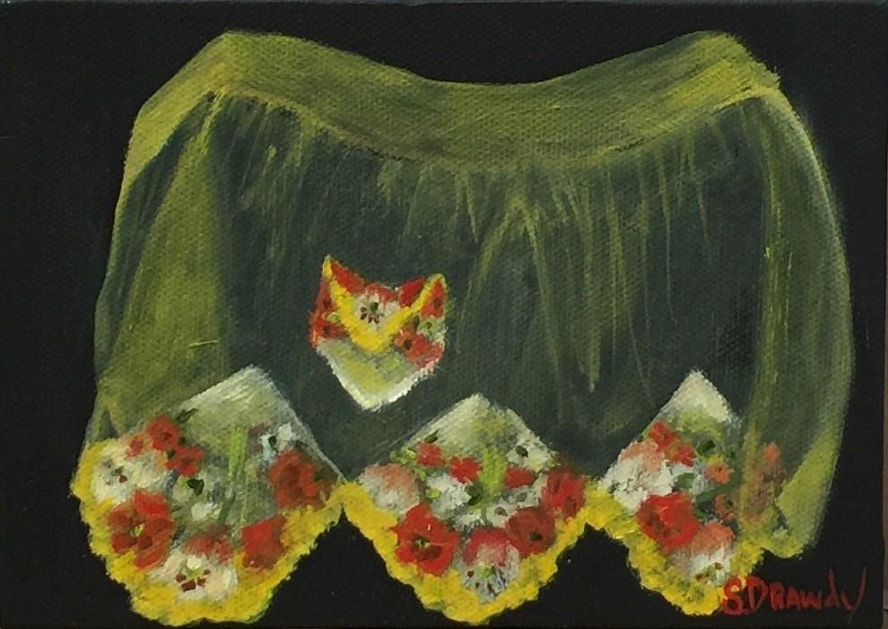 """1950s Organza & Handkerchief Hostess Apron"" original fine art by Stephanie Drawdy"