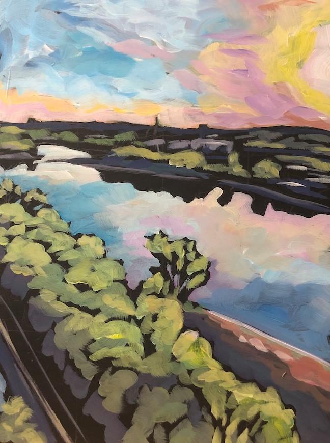 """High Bridge, Spring Evening"" original fine art by Kat Corrigan"