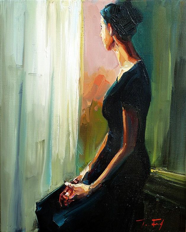"""seated at the window"" original fine art by Jurij Frey"