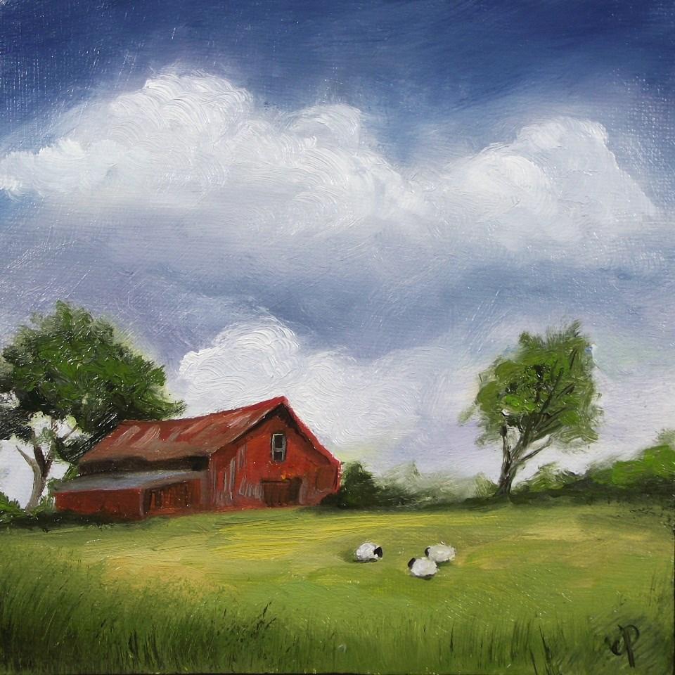 """Red Barn"" original fine art by Jane Palmer"