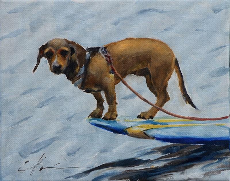 """""""Surf Doggie"""" original fine art by Clair Hartmann"""