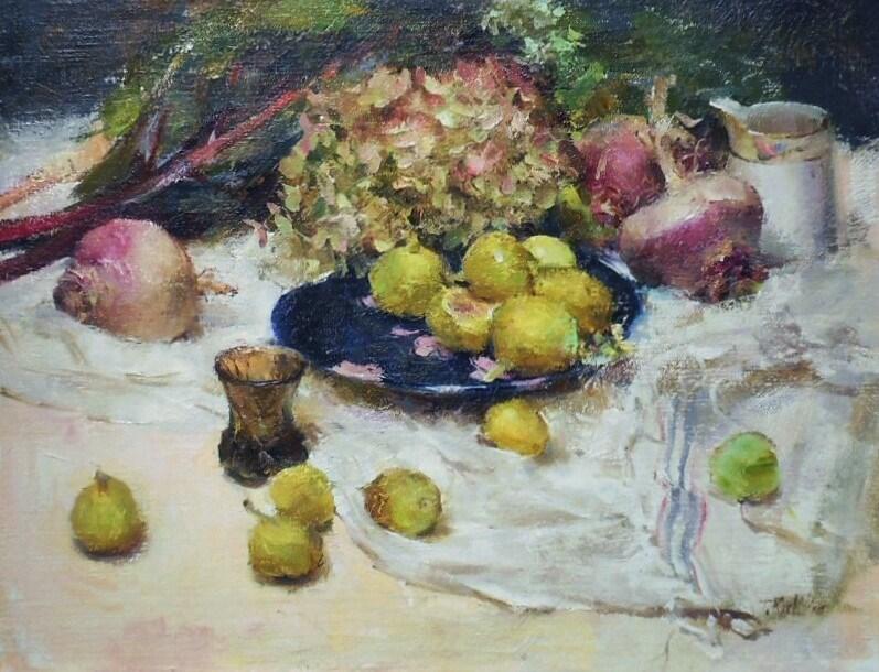 """Still life with figs"" original fine art by Taisia Kuklina"