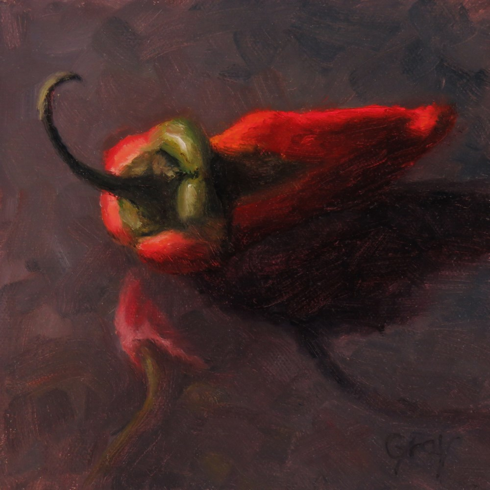 """Red Pepper in Black"" original fine art by Naomi Gray"