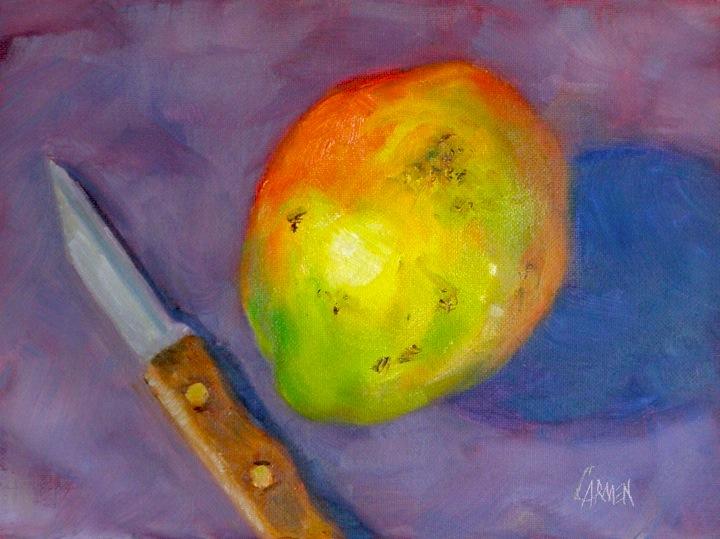 """""""Mango, 6x8 Oil on Canvas Board"""" original fine art by Carmen Beecher"""