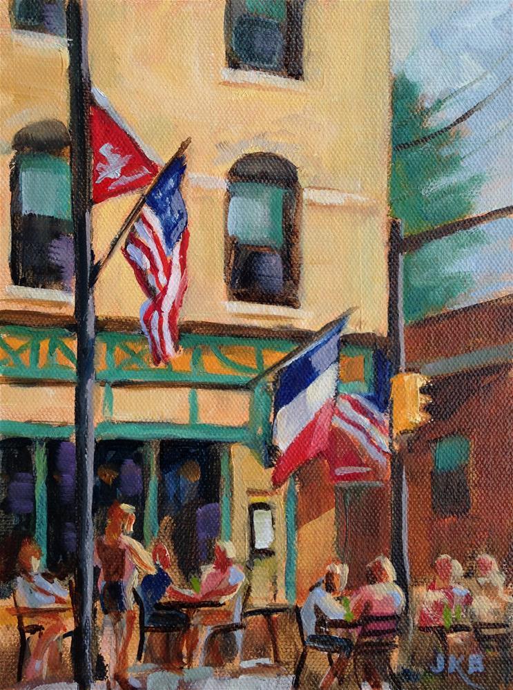 """Bastille Day Flags"" original fine art by Jeanne Bruneau"