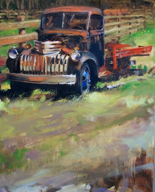 """Flatbed Blues   old truck, oil landscape painting"" original fine art by Robin Weiss"