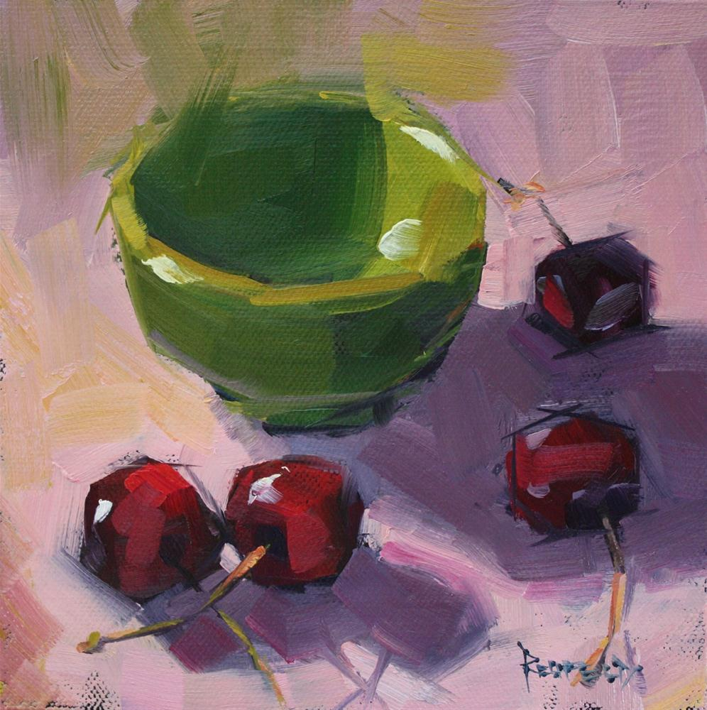"""Green Bowl and Pink"" original fine art by Cathleen Rehfeld"