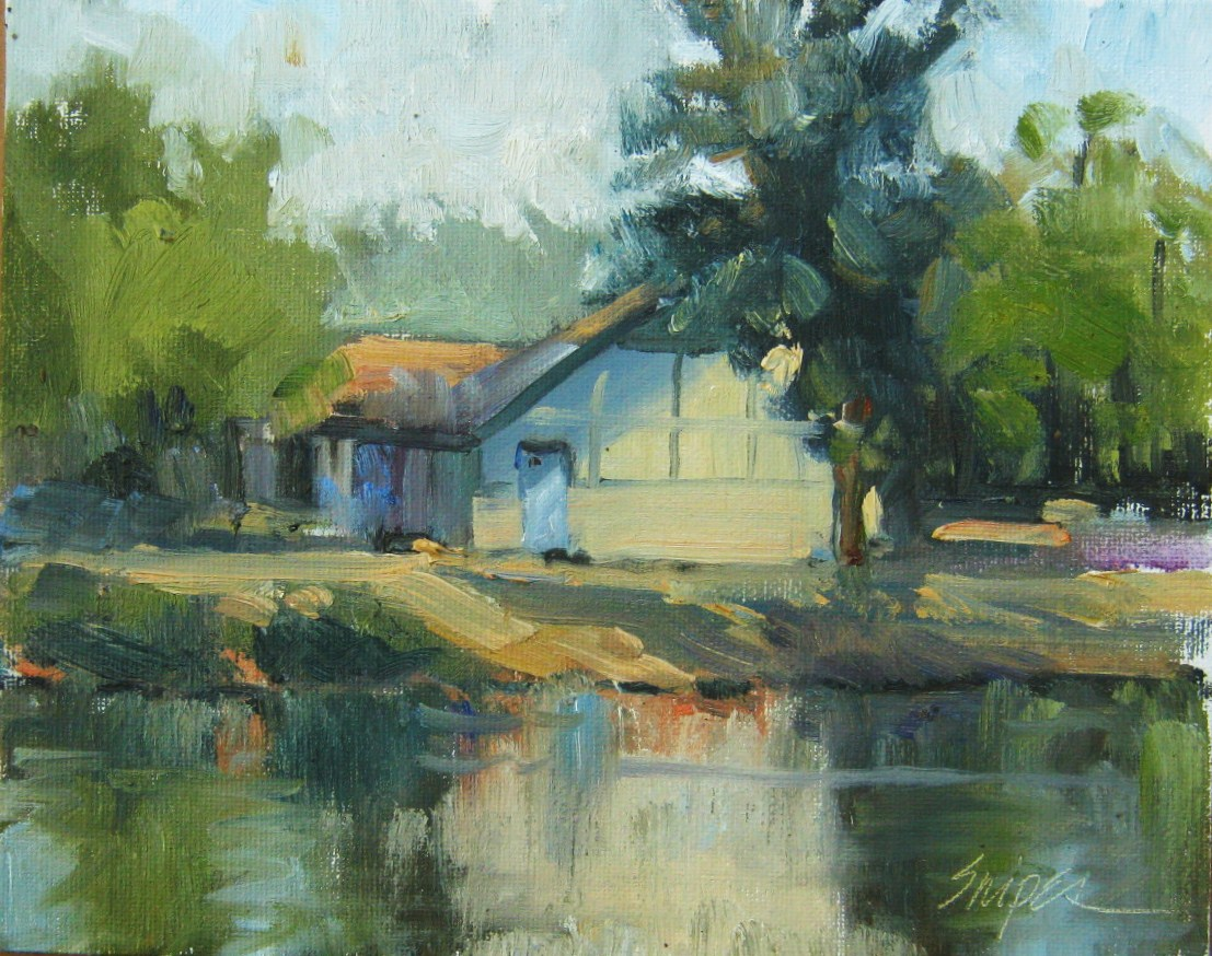 """""""Across the Lake, Butler Park, Charlotte, NC"""" original fine art by Connie Snipes"""