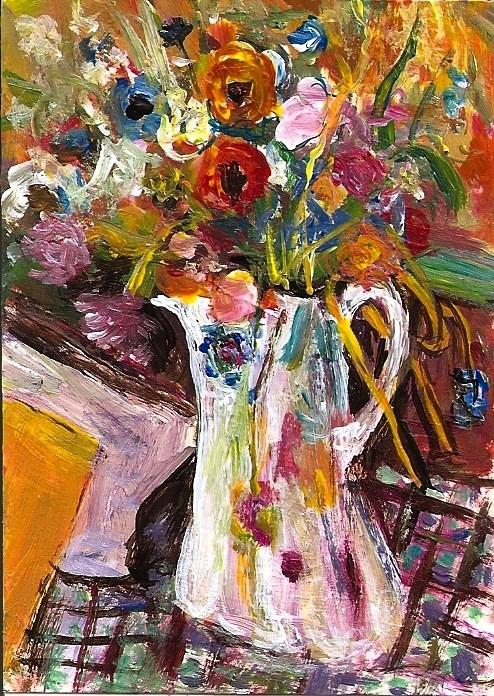 """""""ACEO Bouquet de Fleurs in the style of Pierre Bonnard Mini Masters Penny StewArt"""" original fine art by Penny Lee StewArt"""