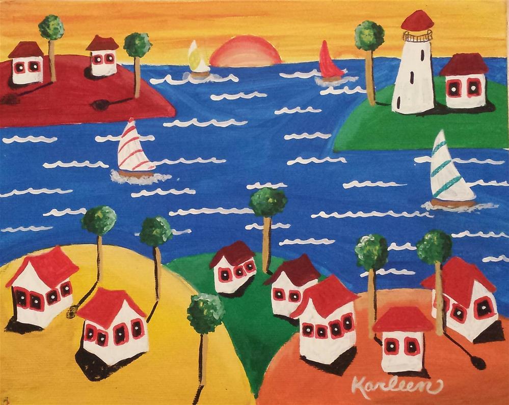 """""""Sailing at Sunset"""" original fine art by Karleen Kareem"""
