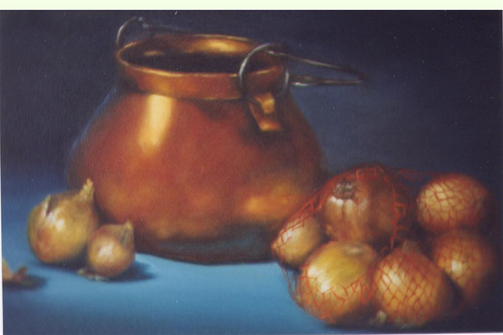 """Copper and Onions"" original fine art by Lina Ferrara"