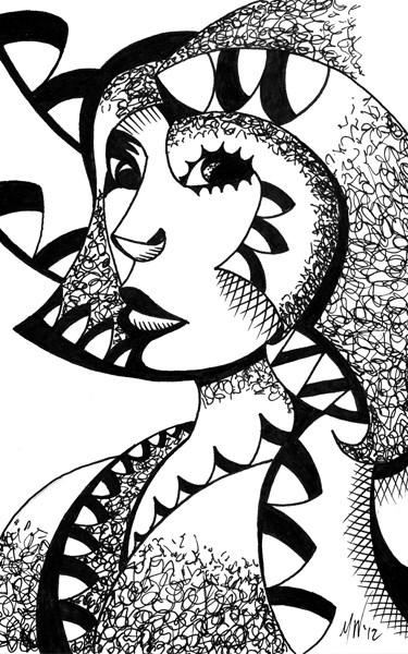 """""""Mark Webster - Cubism Experiment #2 - Abstract Geometric Ink Drawing"""" original fine art by Mark Webster"""