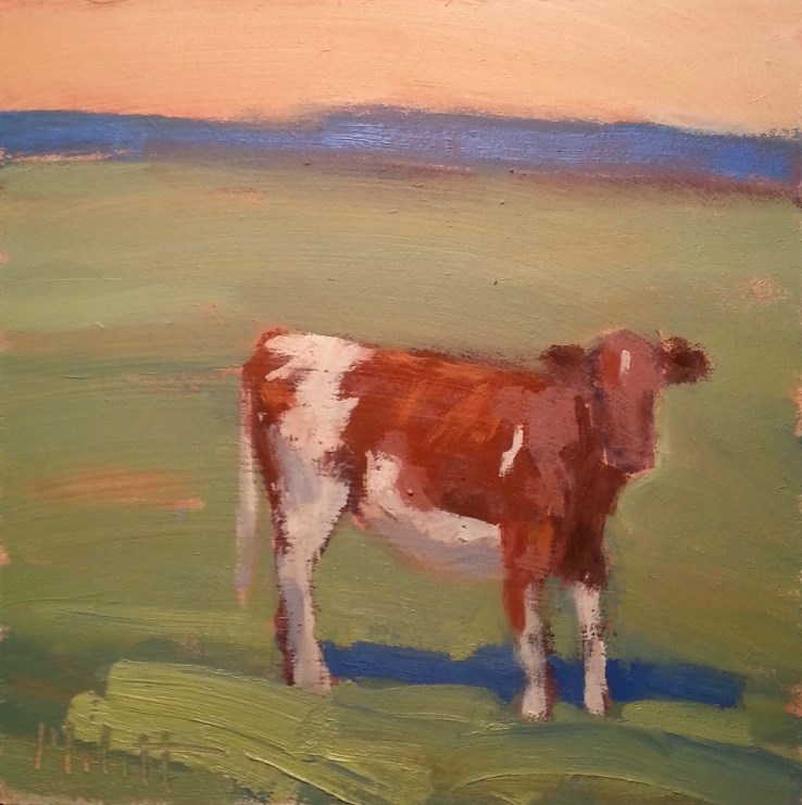 """""""What's Up Buttercup?  Cow Painting Contemporary Impressionism"""" original fine art by Heidi Malott"""