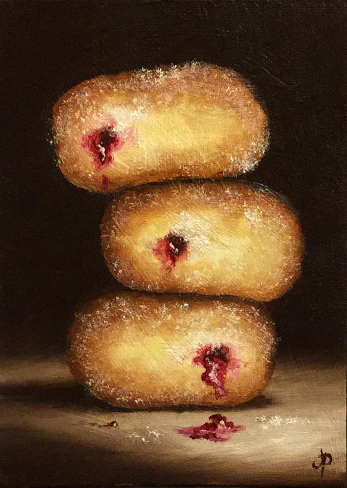 """Donut trio"" original fine art by Jane Palmer"