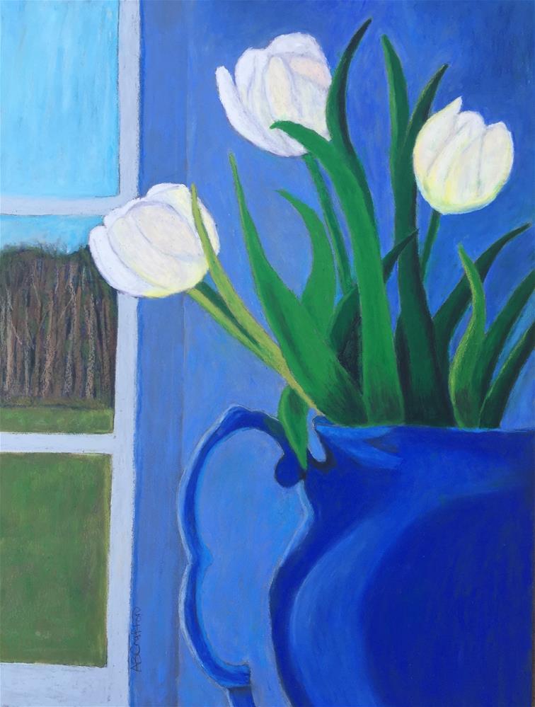 """White Tulips"" original fine art by Arlene Crafton"