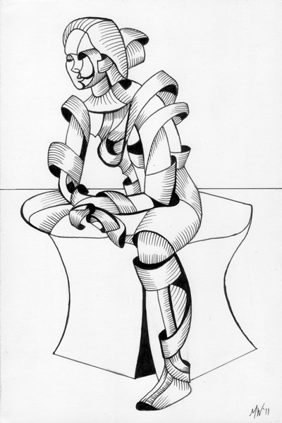 """Mark Adam Webster - Becca 16.04 - Abstract Futurist Figurative Ink Drawing"" original fine art by Mark Webster"
