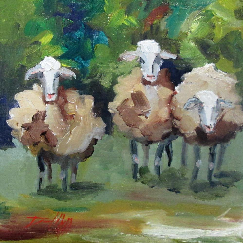 """Three Fuzzy Sheep"" original fine art by Delilah Smith"