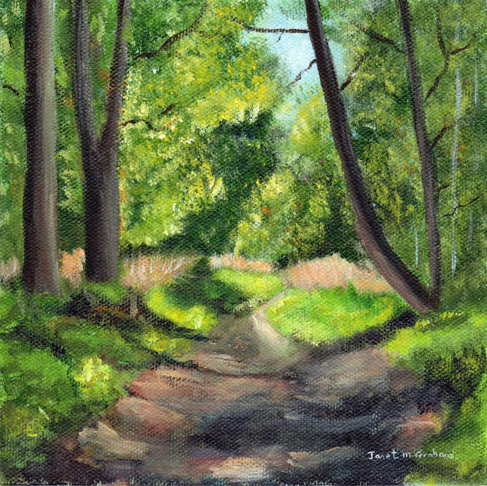 """Woodland Path"" original fine art by Janet Graham"