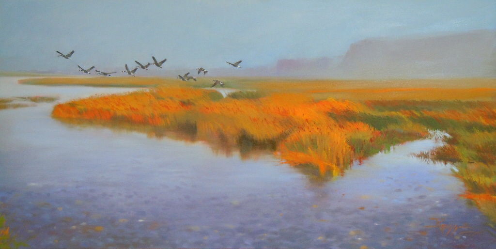 """""""At The Mouth of the Dungeness oil landscape painting"""" original fine art by Robin Weiss"""