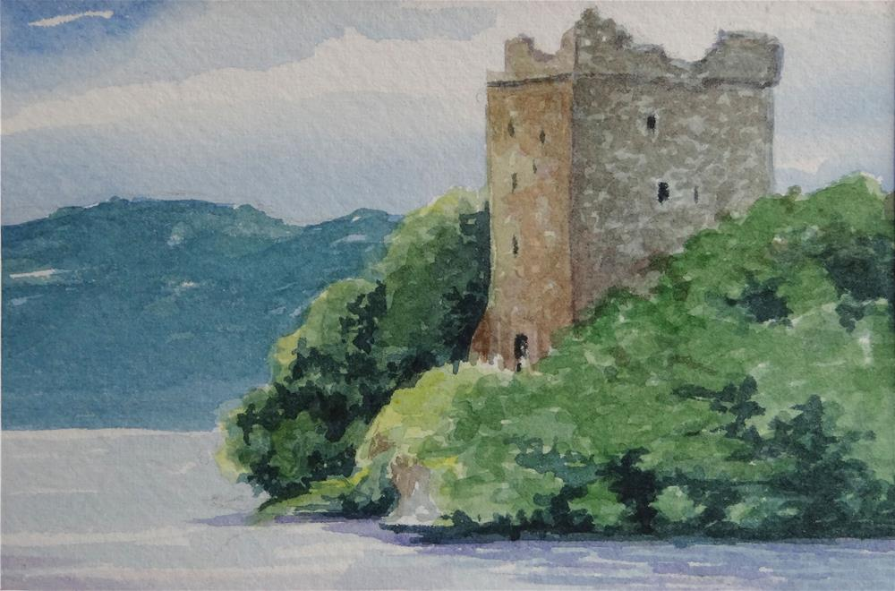 """Loch Ness Scotland Miniature Landscape Painting Watercolor"" original fine art by Alida Akers"