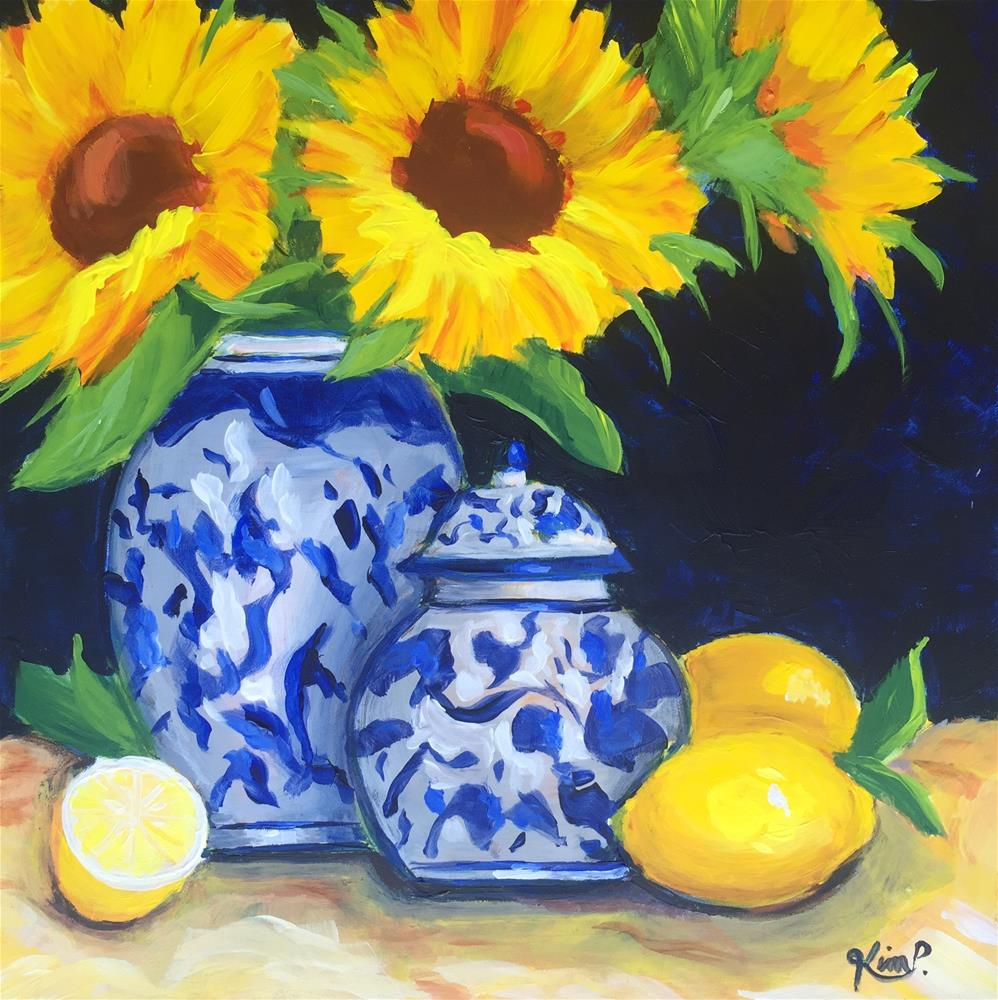 """""""Still Life with Sunflowers, Lemons and Blue and White Vase and  Ginger Jar"""" original fine art by Kim Peterson"""