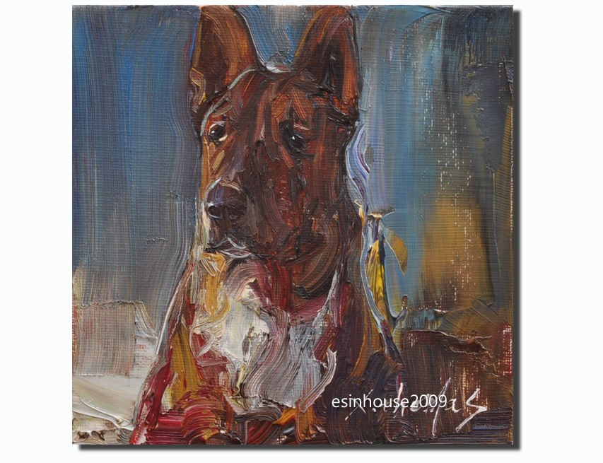 """6X6 Animals Oil Painting German Shepherd Puppy pets Dog Art Pet Portraits"" original fine art by Thomas Xie"