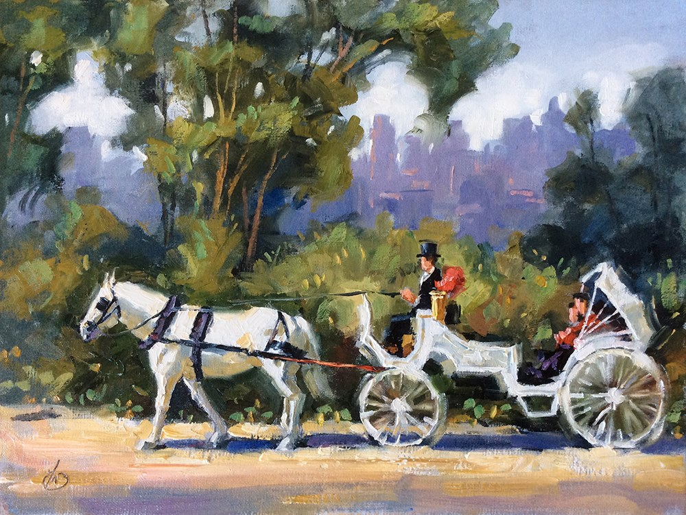 """""""New York Horse-Drawn Carriage Ride"""" original fine art by Tom Brown"""