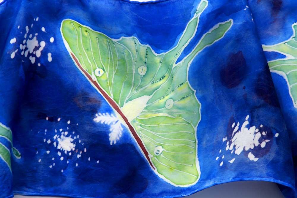 """Luna Moth Silk Scarf"" original fine art by Clair Hartmann"