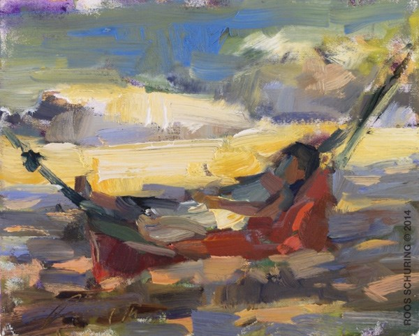 """Painting Girl in Hammock (sold)"" original fine art by Roos Schuring"