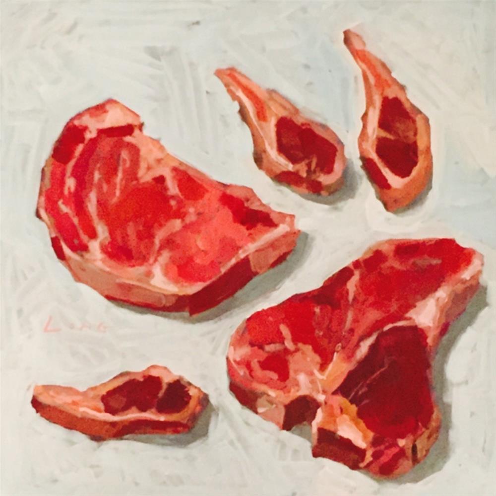 """Cow and Lamb"" original fine art by Chris Long"