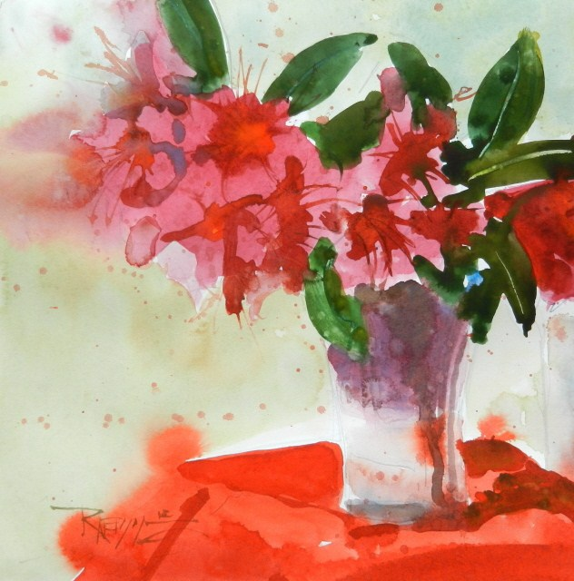"""""""Red Rhodies #7  plein air, floral, watercolor painting by Robin Weiss"""" original fine art by Robin Weiss"""