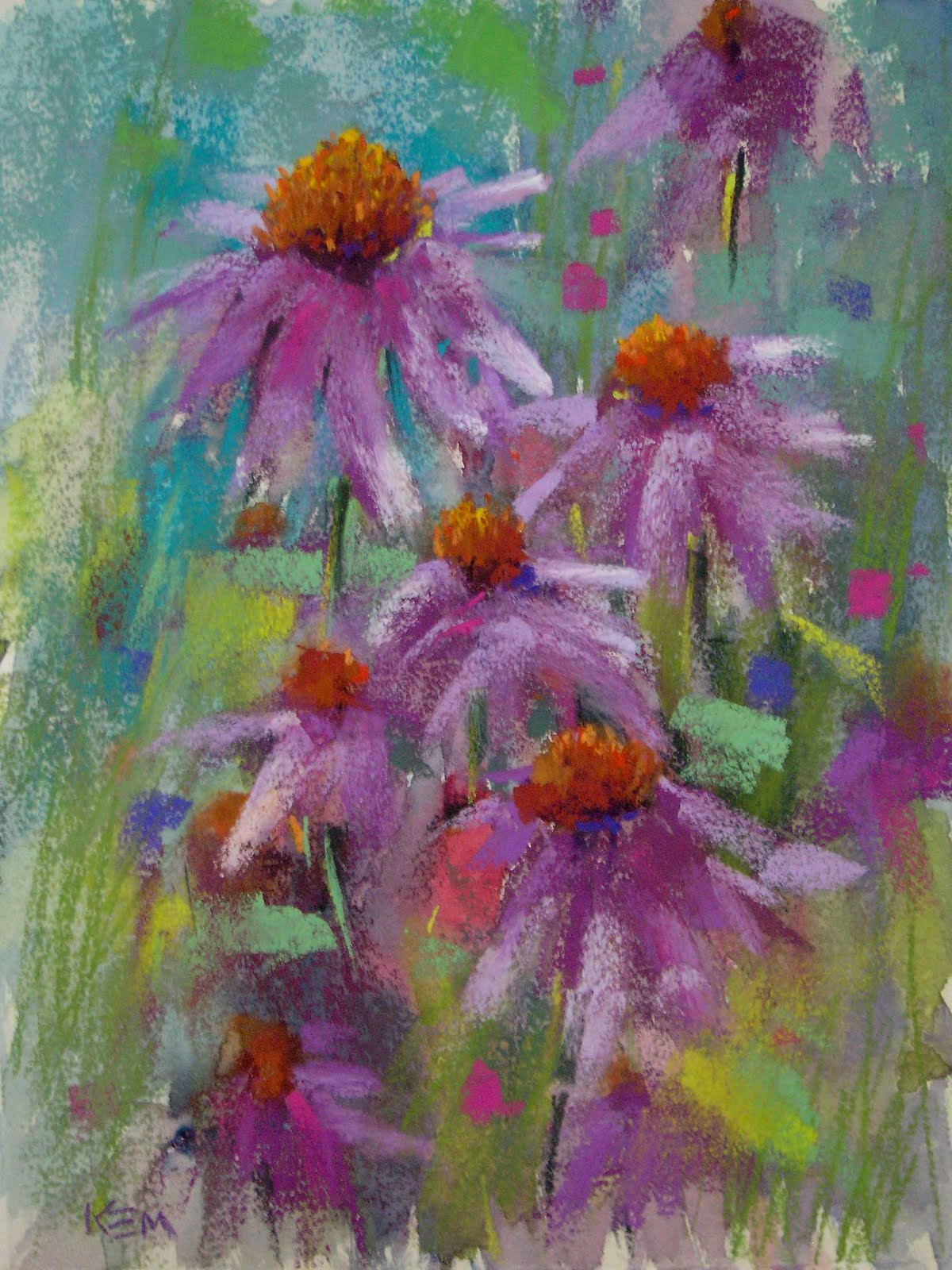 """Purple Coneflowers 9x12 pastel"" original fine art by Karen Margulis"
