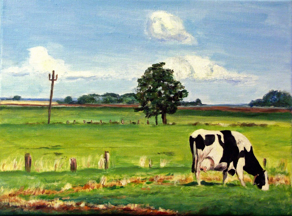"""Summer with Cow"" original fine art by Ulrike Miesen-Schuermann"