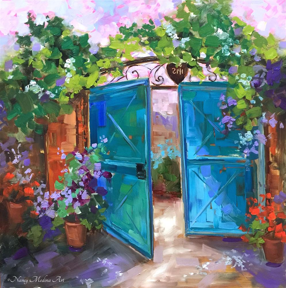 """""""A Free Lesson for You and Morning Vieux Blue Gates"""" original fine art by Nancy Medina"""