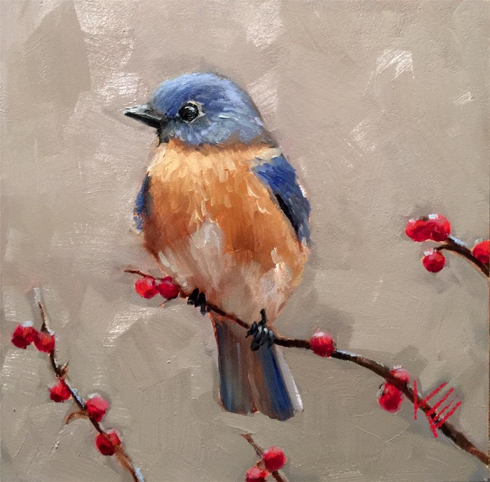 """""""Blue Bird in Early Winter"""" original fine art by Krista Eaton"""