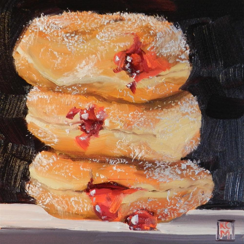 """""""Ooeey Gooey Stack of Jelly Donuts, 6x6 inch Oil Painting by Kelley Macdonald"""" original fine art by Kelley MacDonald"""