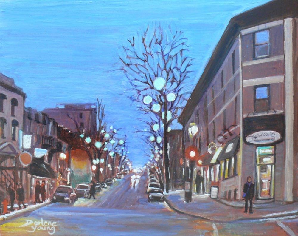 """1137 Montreal Street Scene, St-Denis, Egg Tempera, 8x10, on board"" original fine art by Darlene Young"