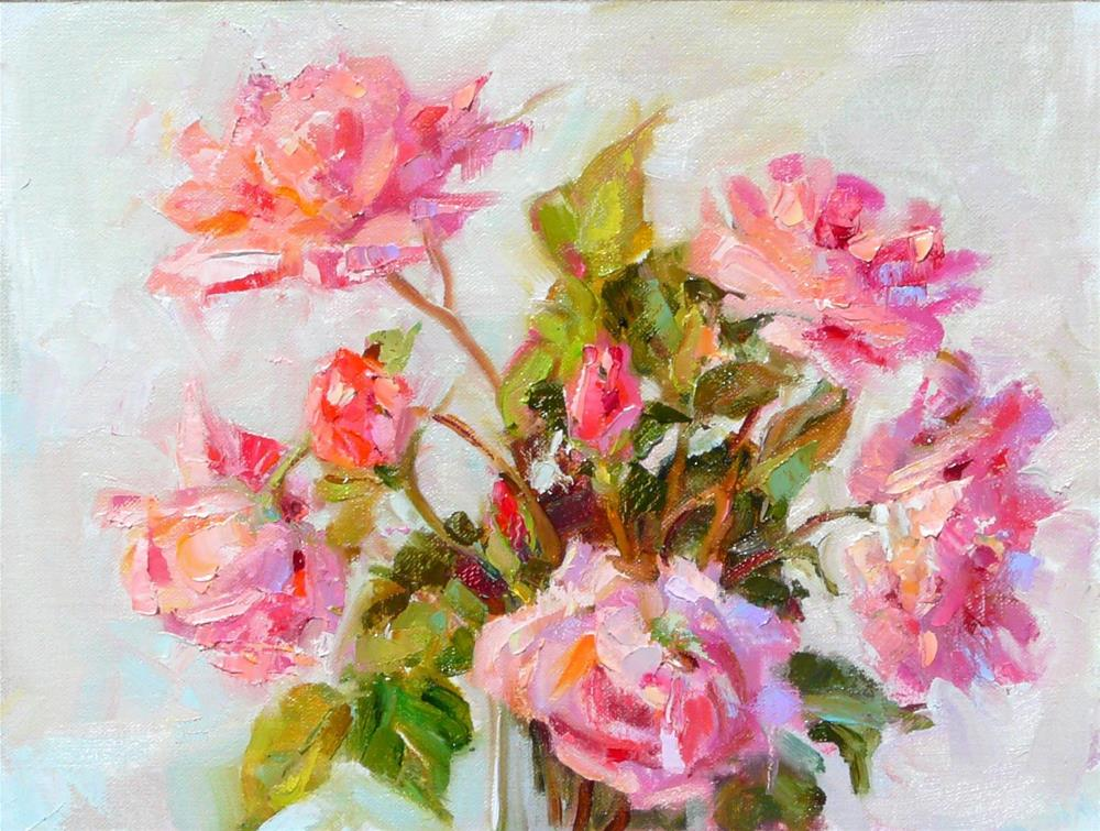 """Queen Elizabeth Roses,oil on linen,9x12,price$375"" original fine art by Joy Olney"