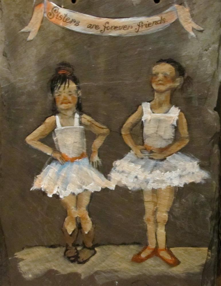 """""""Day 19 Slate - Sisters"""" original fine art by Christine Holzschuh"""
