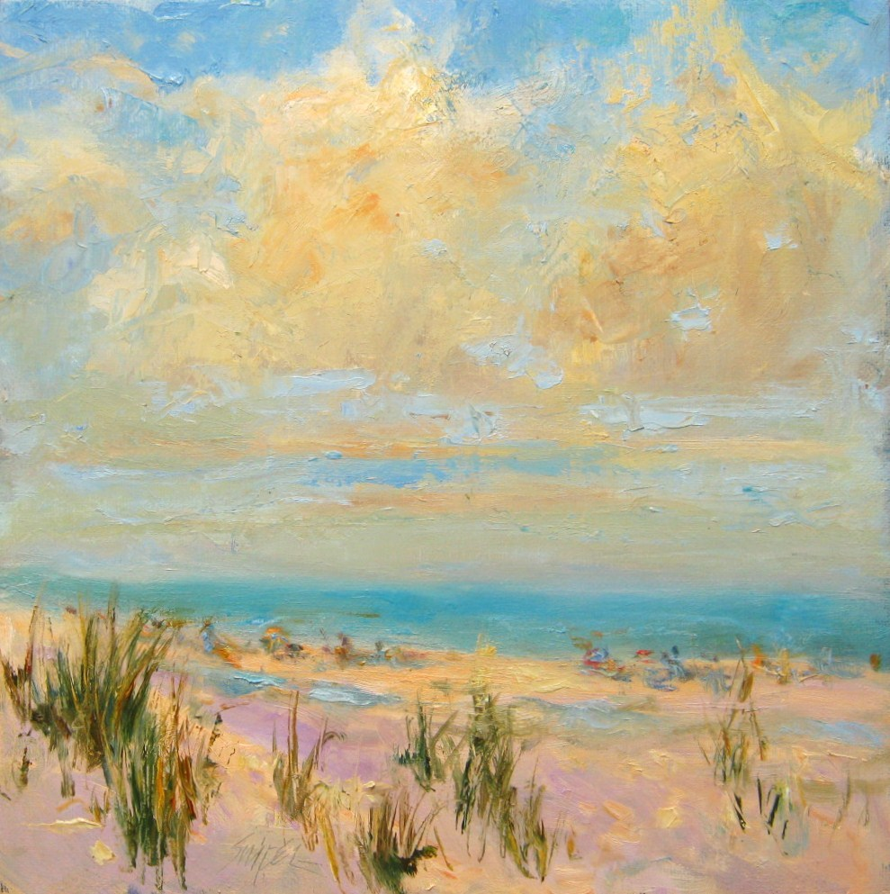 """""""Clouds Over the Beach"""" original fine art by Connie Snipes"""