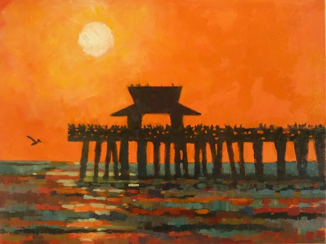 """""""Naples Pier Sunset 18x24 on stretched canvas Framed"""" original fine art by Mary Sheehan Winn"""