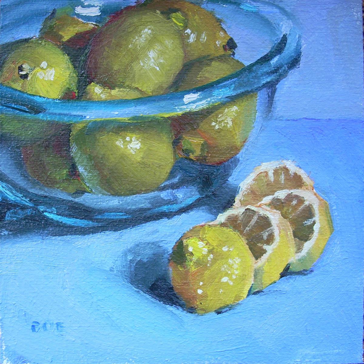 """""""Lemon Bowl"""" original fine art by Karen Boe"""
