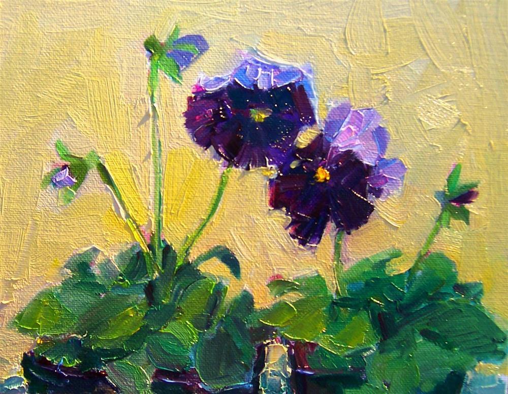 """Pansies in December,still life, oil on canvas,8x10,price$250"" original fine art by Joy Olney"