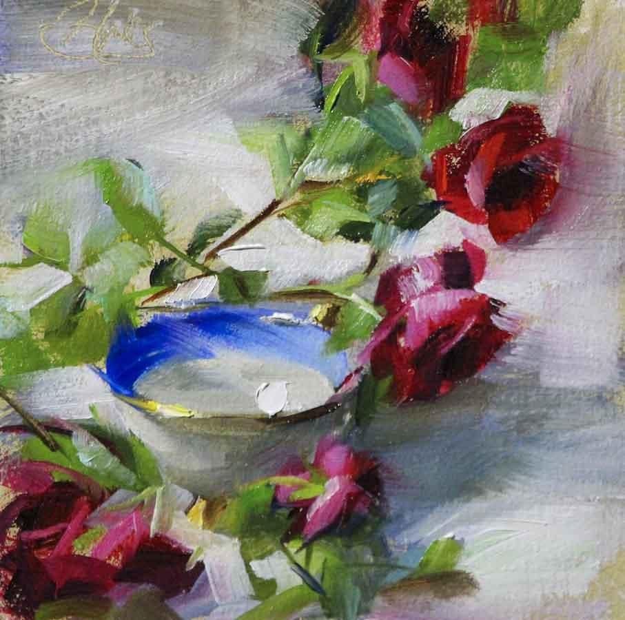 """""""Climbing Roses and a Teacup"""" original fine art by Pamela Blaies"""