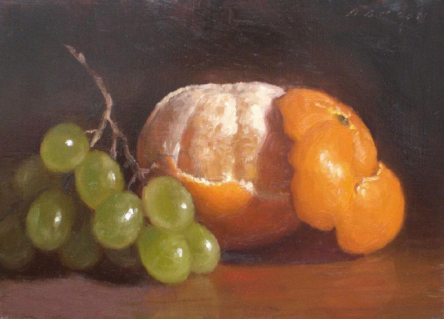 """Peeled Orange with Grapes"" original fine art by Debra Becks Cooper"