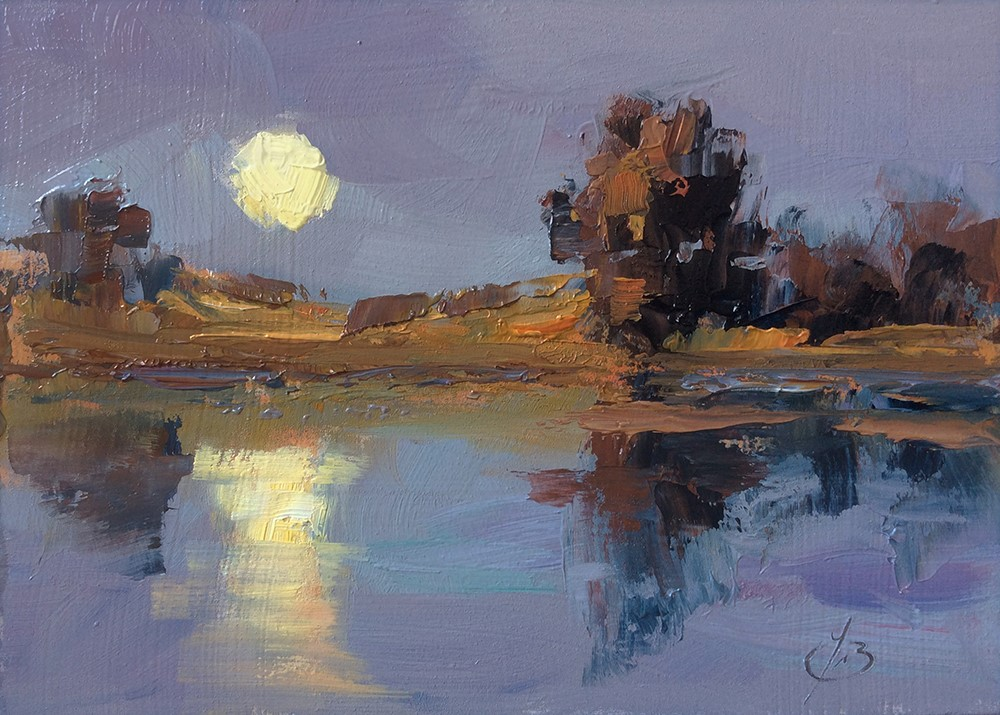 """FULL MOON RISING"" original fine art by Tom Brown"