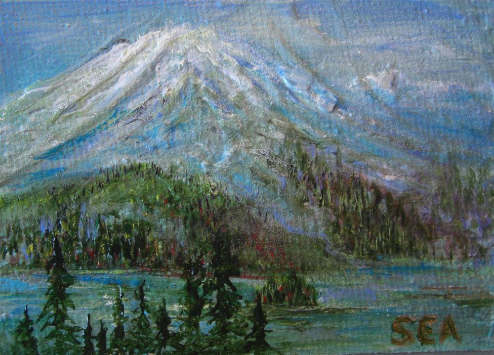 """2059 - MOUNTAIN LAKE - ACEO Series"" original fine art by Sea Dean"