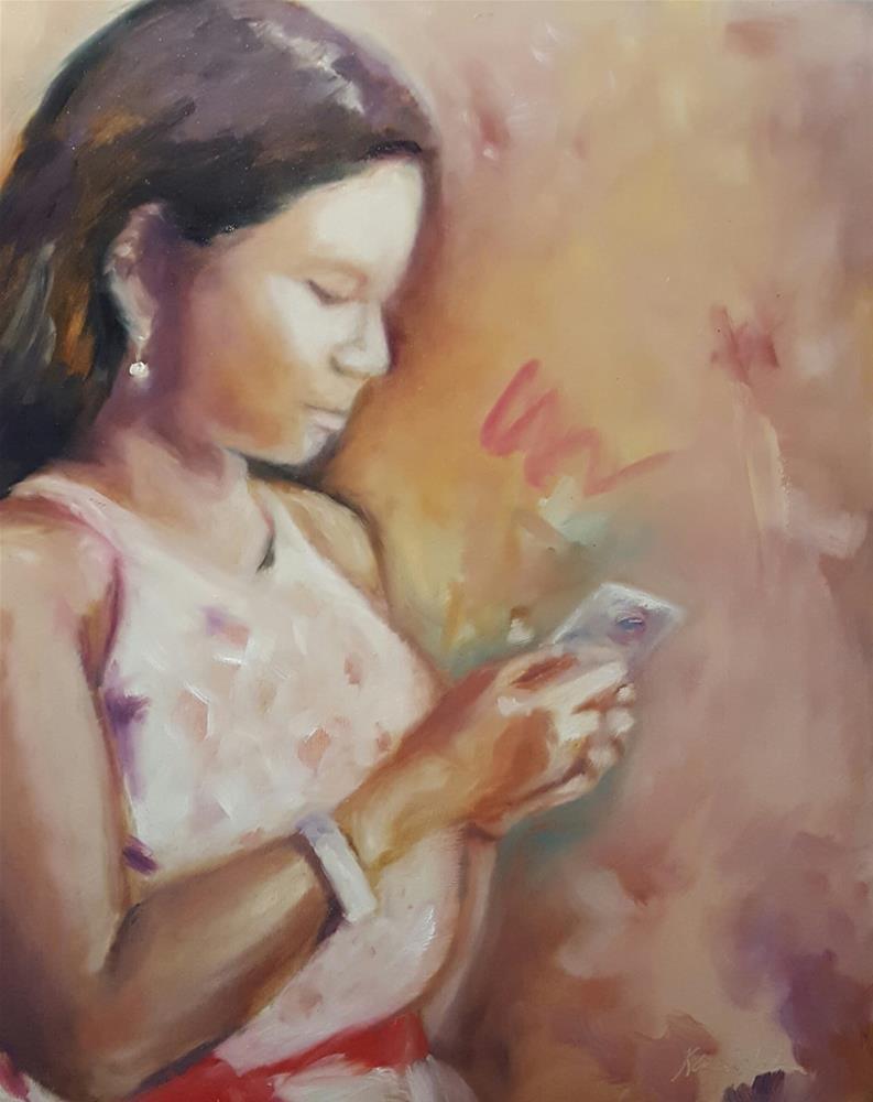 """""""Watching the Cloud"""" original fine art by Karen Weber"""
