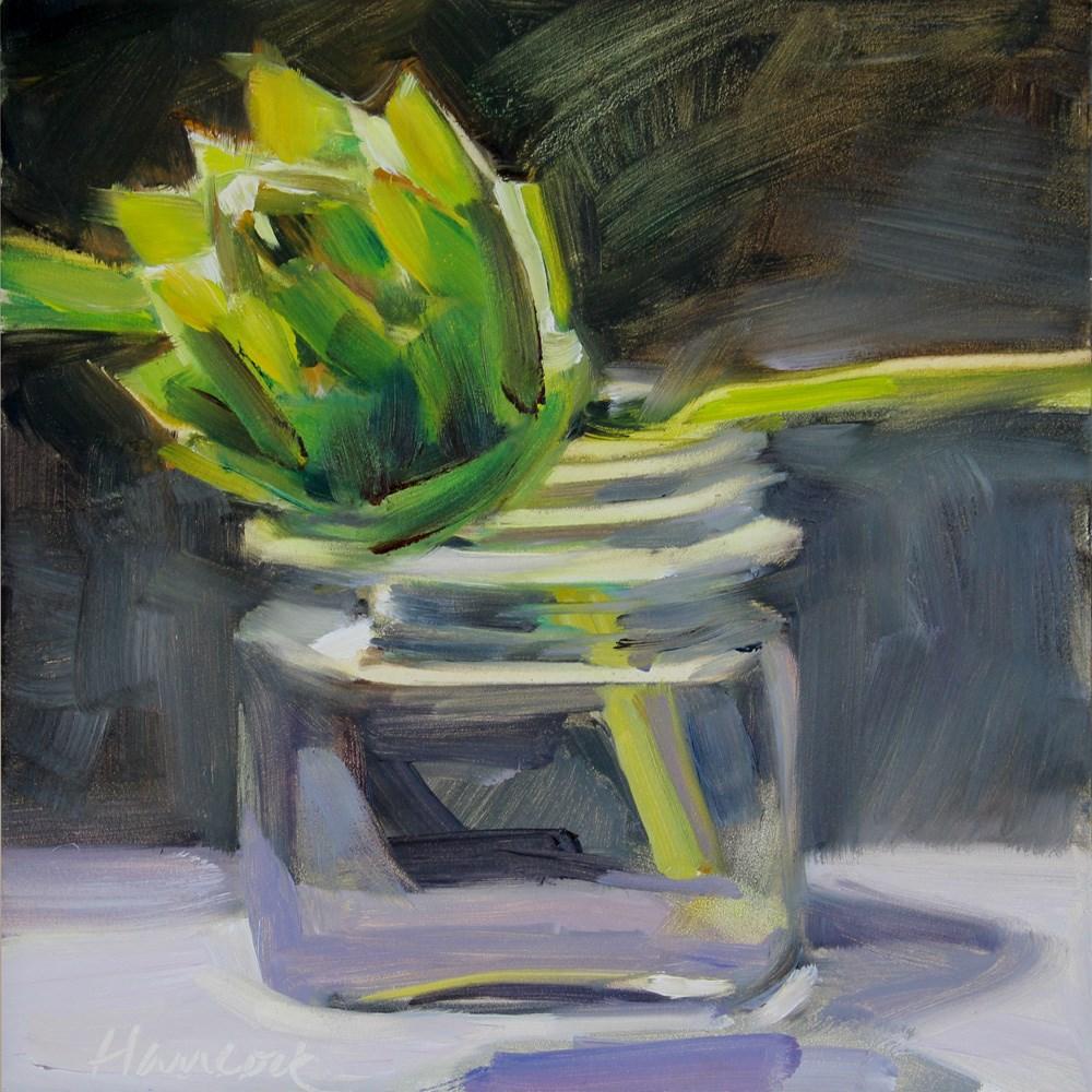 """""""Artichoke and Square Glass Jar on Black"""" original fine art by Gretchen Hancock"""