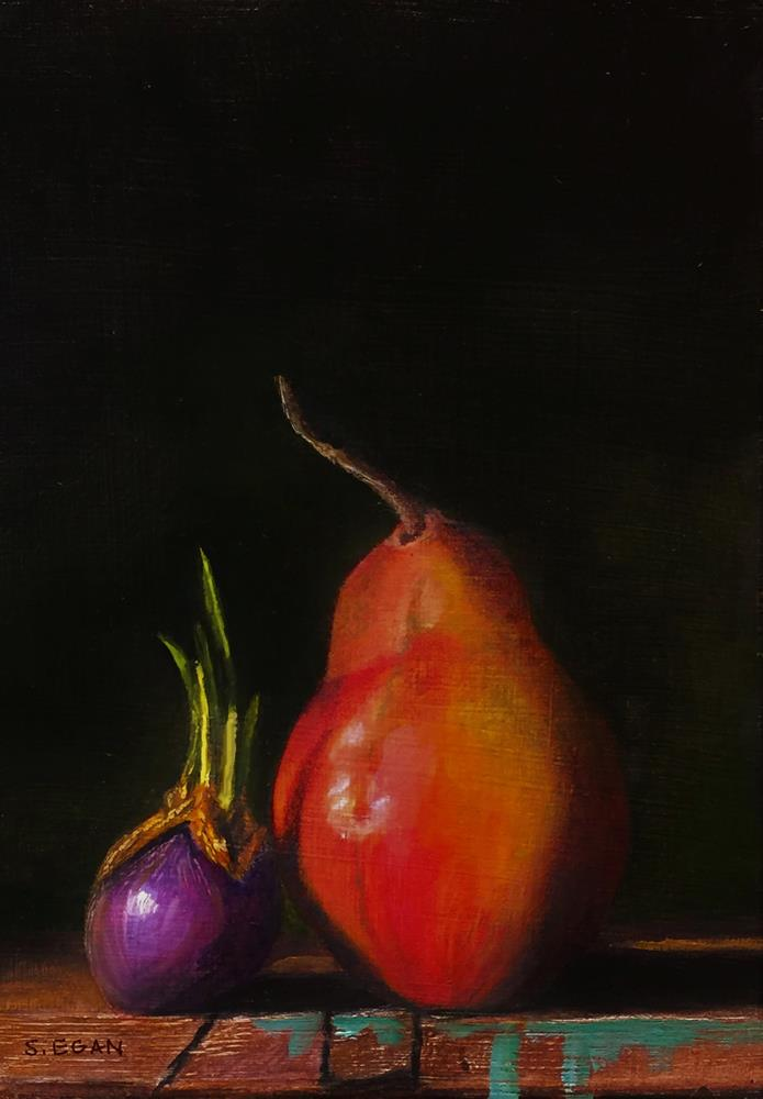 """""""Shallot and Red Anjou Pear"""" original fine art by Sharon Egan"""